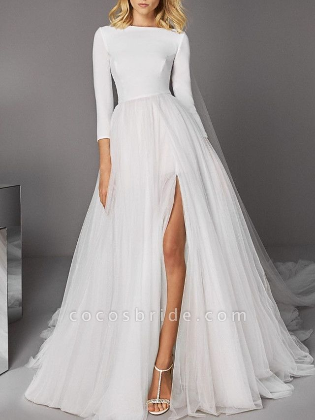 A-Line Wedding Dresses Jewel Neck Court Train Satin Tulle 3\4 Length Sleeve Casual Modern