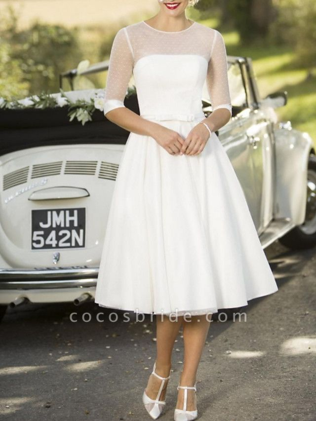 A-Line Wedding Dresses Jewel Neck Tea Length Satin Tulle Half Sleeve Vintage Sexy Wedding Dress in Color