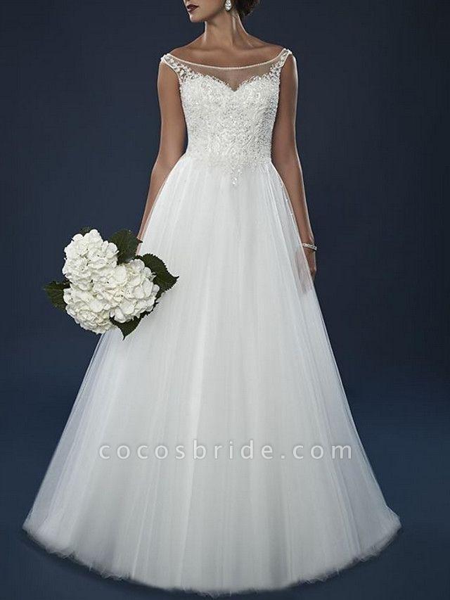 A-Line Wedding Dresses Off Shoulder Court Train Lace Tulle Short Sleeve