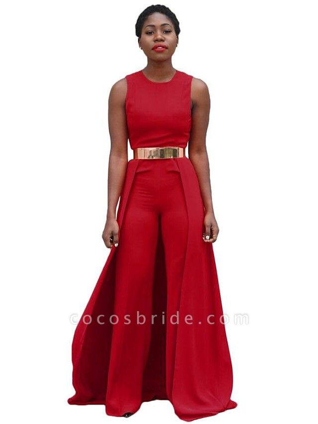 Women's Wide Leg Daily Red Jumpsuit