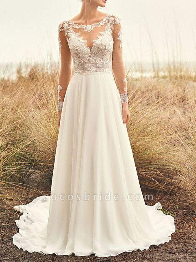 A-Line Wedding Dresses Bateau Neck Sweep \ Brush Train Chiffon Lace Long Sleeve Beach Boho Backless Illusion Sleeve