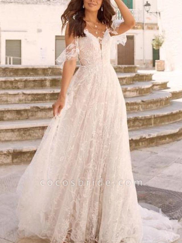 A-Line Wedding Dresses V Neck Court Train Sweep \ Brush Train Chiffon Tulle Long Sleeve Boho Plus Size