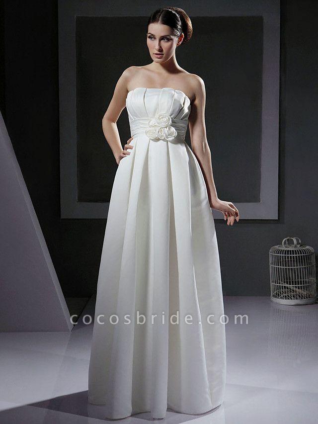 Princess A-Line Wedding Dresses Strapless Floor Length Satin Sleeveless