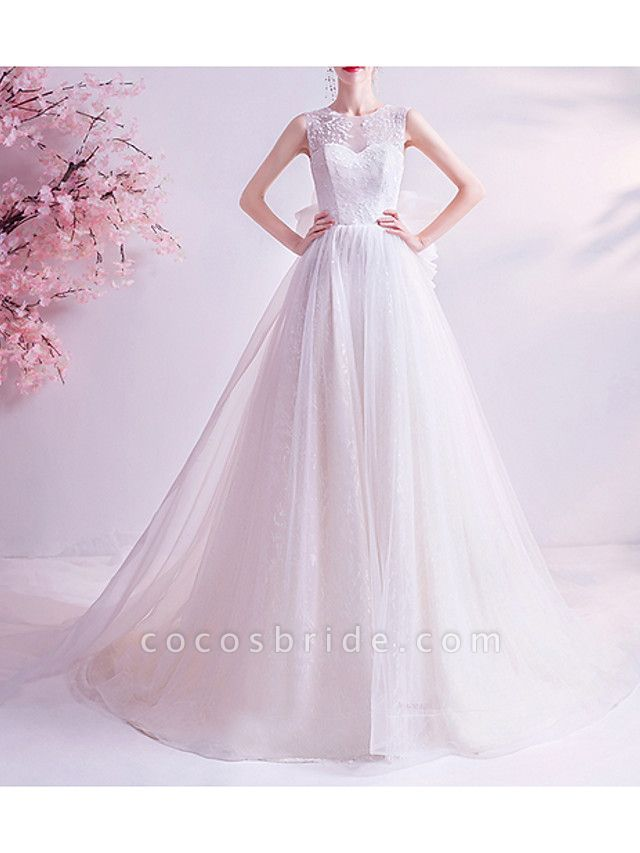A-Line Wedding Dresses Jewel Neck Watteau Train Chiffon Tulle Sleeveless Formal Illusion Detail Plus Size