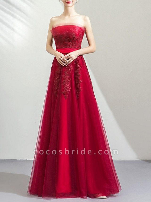 A-Line Wedding Dresses Strapless Floor Length Tulle Strapless Romantic Plus Size Red