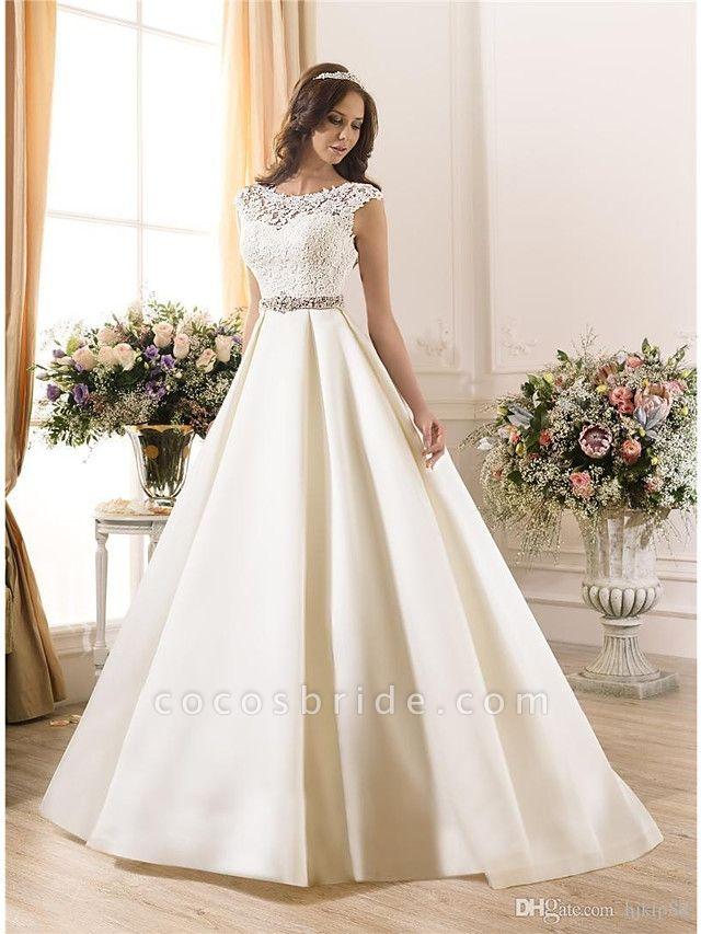 A-Line Wedding Dresses Bateau Neck Court Train Lace Chiffon Over Satin Regular Straps Vintage Backless