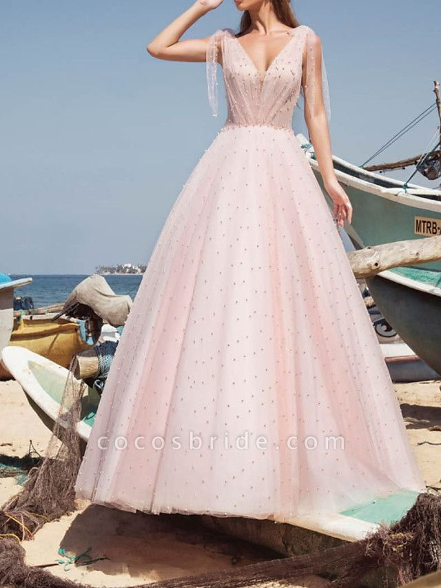 A-Line Wedding Dresses V Neck Sweep \ Brush Train Tulle Sleeveless Country Sexy Wedding Dress in Color