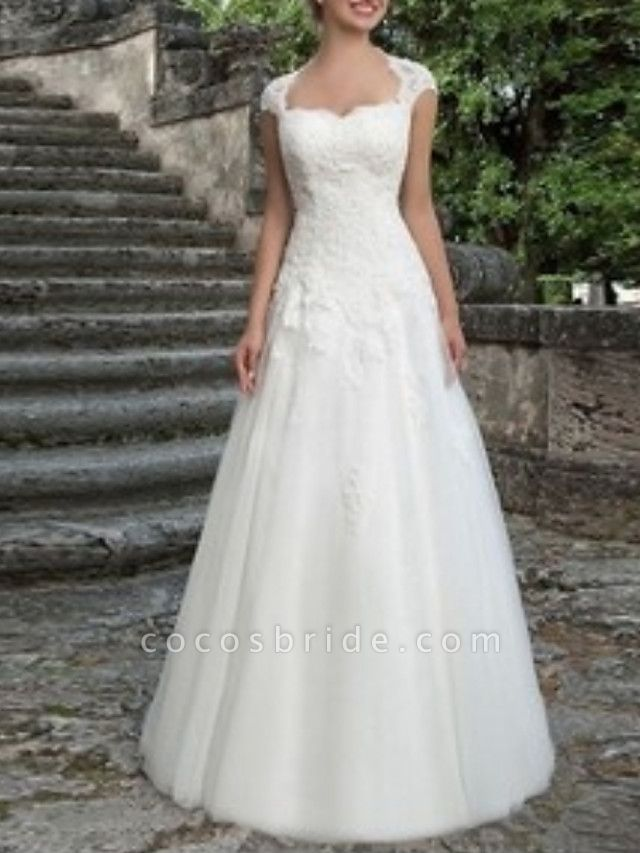 A-Line Wedding Dresses V Neck Floor Length Tulle Regular Straps