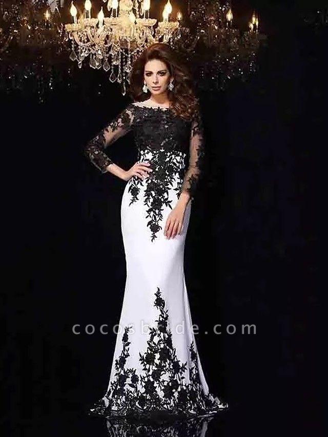 Mermaid \ Trumpet Wedding Dresses Bateau Neck Sweep \ Brush Train Lace Tulle Lace Over Satin Long Sleeve Sexy Black Illusion Sleeve