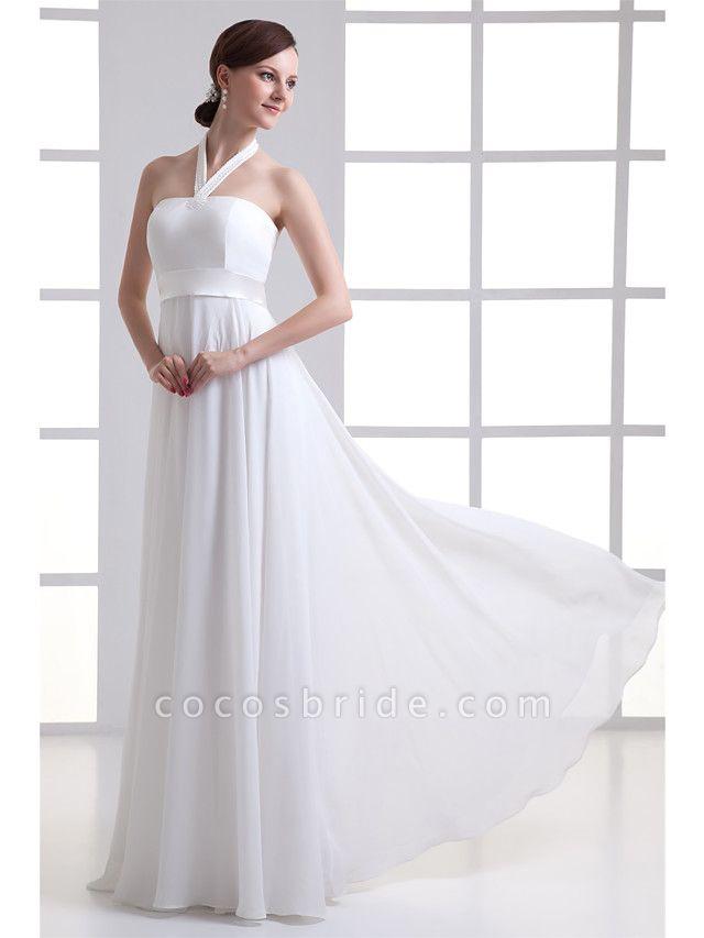 A-Line Wedding Dresses Halter Neck Floor Length Chiffon Satin Strapless
