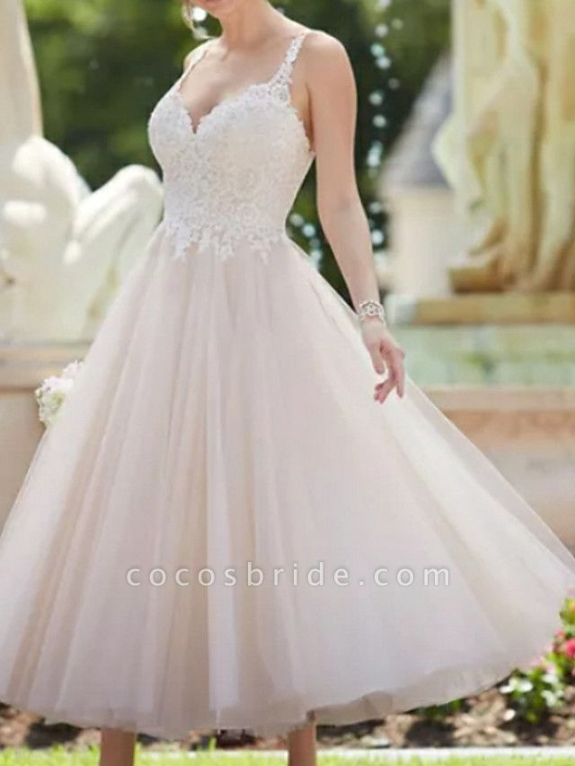 A-Line Wedding Dresses V Neck Ankle Length Lace Tulle Spaghetti Strap Vintage Backless