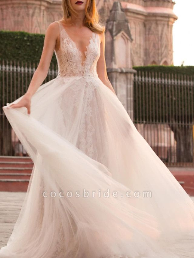 A-Line Wedding Dresses Court Train Lace Tulle Regular Straps
