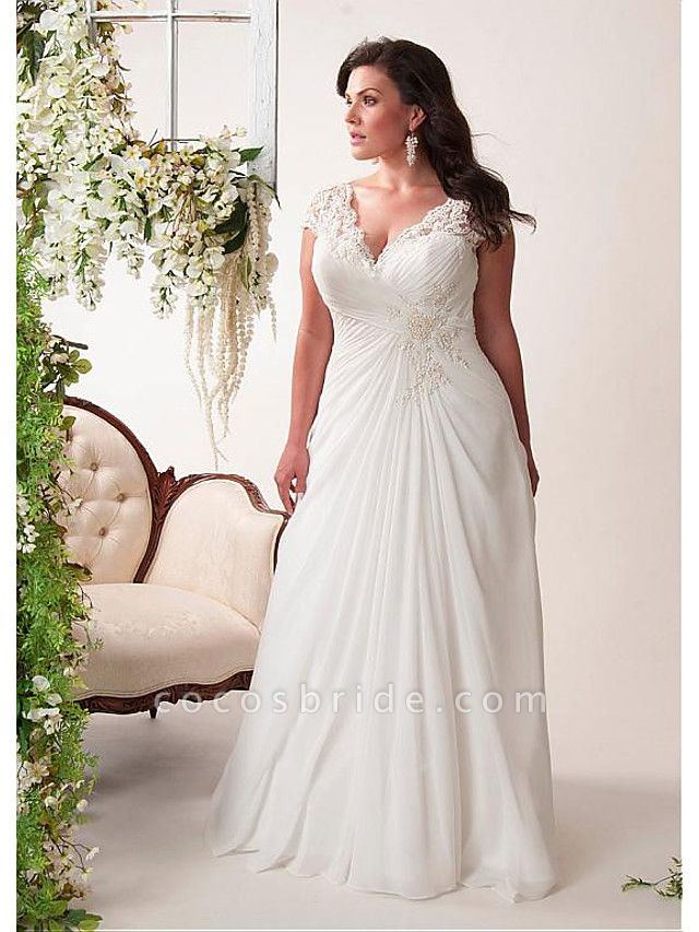 Mermaid \ Trumpet Wedding Dresses V Neck Court Train Chiffon Lace Sleeveless Simple Plus Size