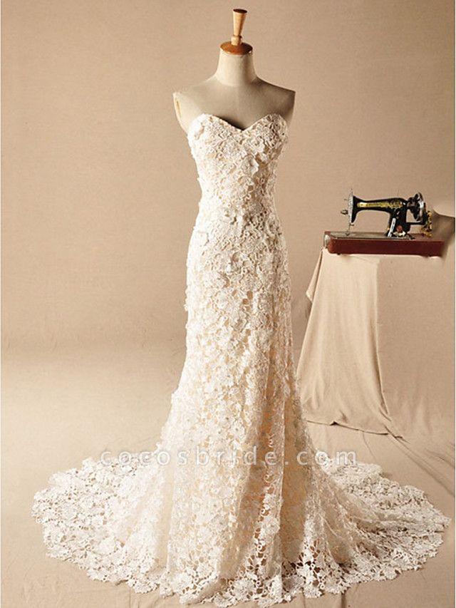 Mermaid \ Trumpet Wedding Dresses Strapless Court Train Lace Sleeveless Formal