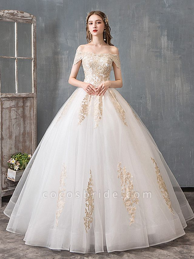 Ball Gown Wedding Dresses Off Shoulder Floor Length Lace Tulle Polyester Cap Sleeve Romantic Sexy