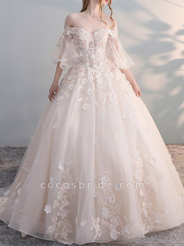 A-Line Wedding Dresses Off Shoulder Court Train Lace Tulle Sleeveless Casual Plus Size