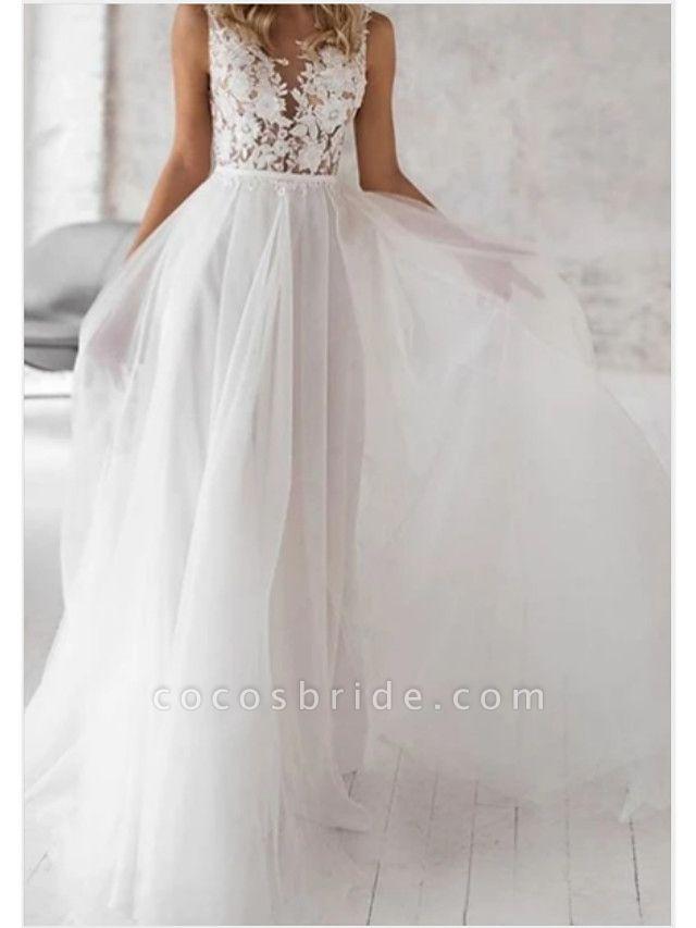 A-Line Wedding Dresses V Neck Floor Length Lace Tulle Regular Straps Boho
