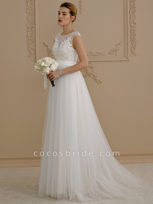 A-Line Wedding Dresses Jewel Neck Sweep \ Brush Train Beaded Lace Cap Sleeve Romantic Plus Size Backless