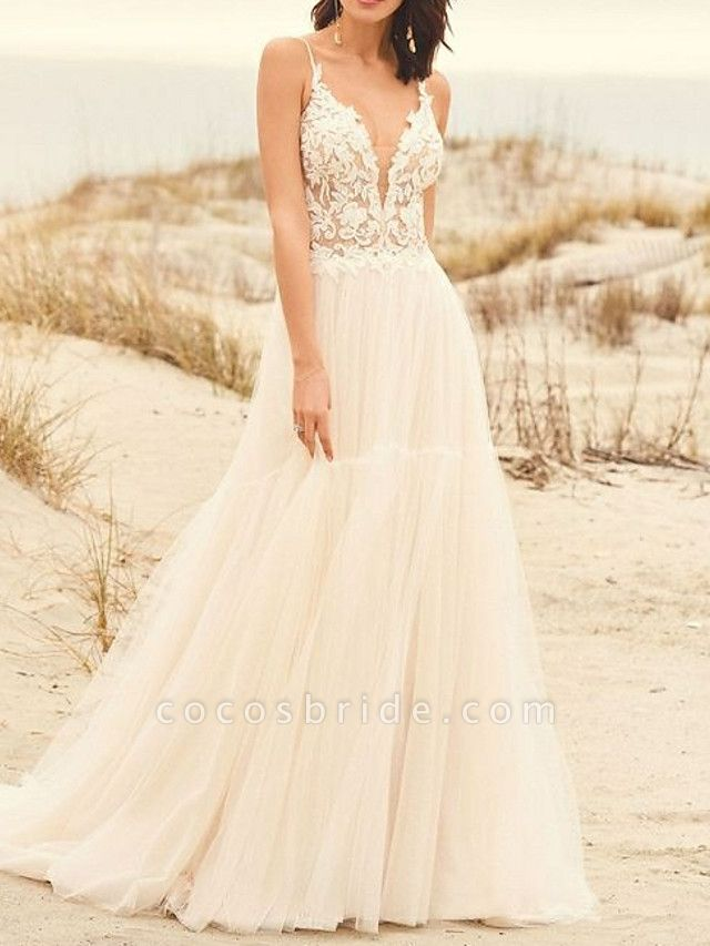 A-Line Wedding Dresses V Neck Sweep \ Brush Train Lace Tulle Spaghetti Strap Illusion Detail Backless