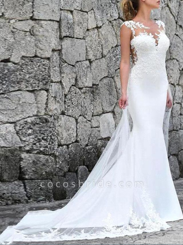 Mermaid \ Trumpet Wedding Dresses Jewel Neck Court Train Lace Tulle Chiffon Over Satin Sleeveless Country Plus Size