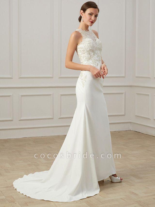 Mermaid \ Trumpet Wedding Dresses Jewel Neck Sweep \ Brush Train Lace Tulle Sleeveless Formal Illusion Detail Plus Size