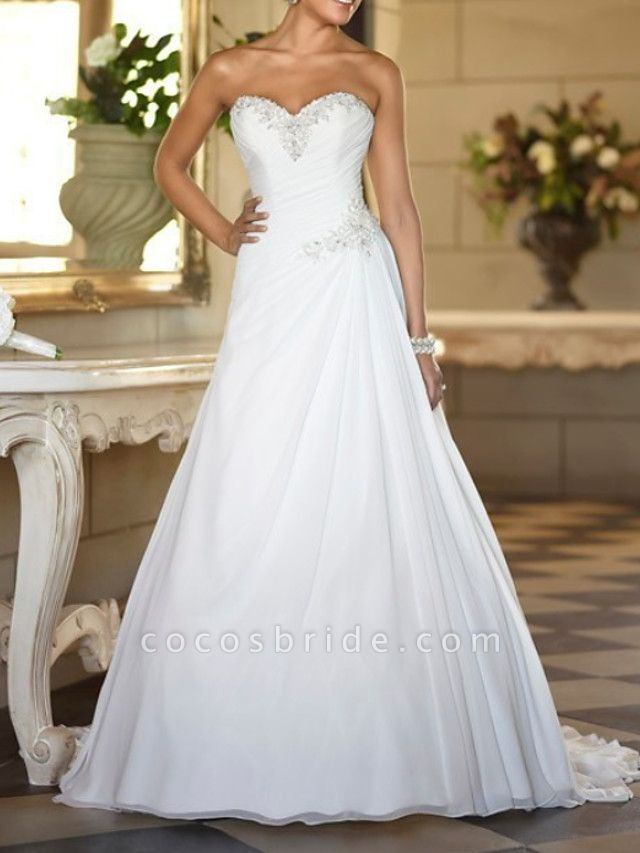 A-Line Wedding Dresses Strapless Sweep \ Brush Train Tulle Strapless Formal Plus Size