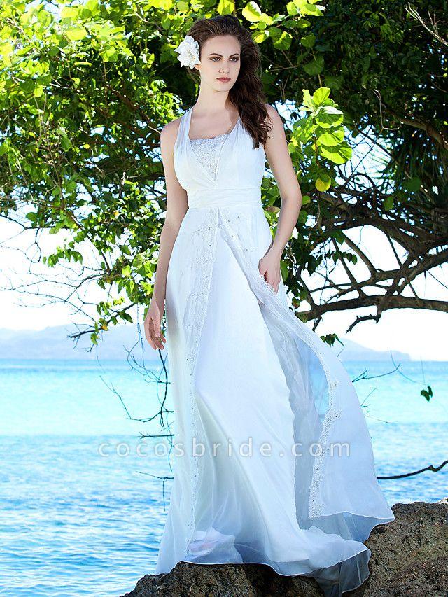 Sheath \ Column Wedding Dresses Straps Sweep \ Brush Train Chiffon Sleeveless
