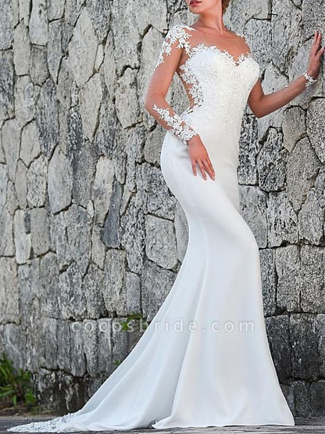 Mermaid \ Trumpet Wedding Dresses Jewel Neck Sweep \ Brush Train Polyester Long Sleeve Sexy Backless Illusion Sleeve