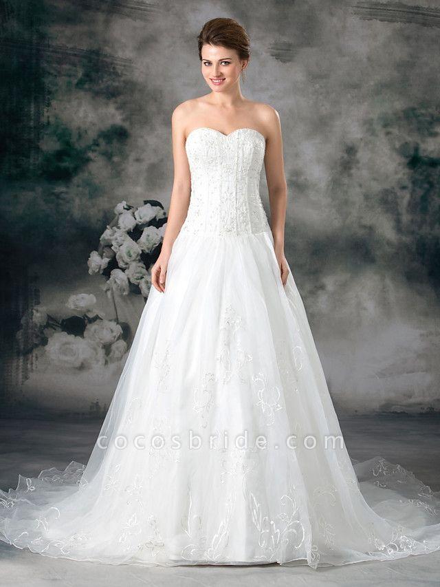 A-Line Sweetheart Neckline Court Train Organza Satin Strapless Plus Size Wedding Dresses