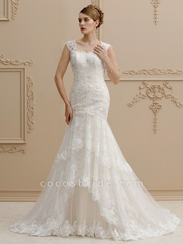 Mermaid \ Trumpet Square Neck Court Train Lace Over Tulle Regular Straps Wedding Dress in Color Floral Lace See-Through Wedding Dresses