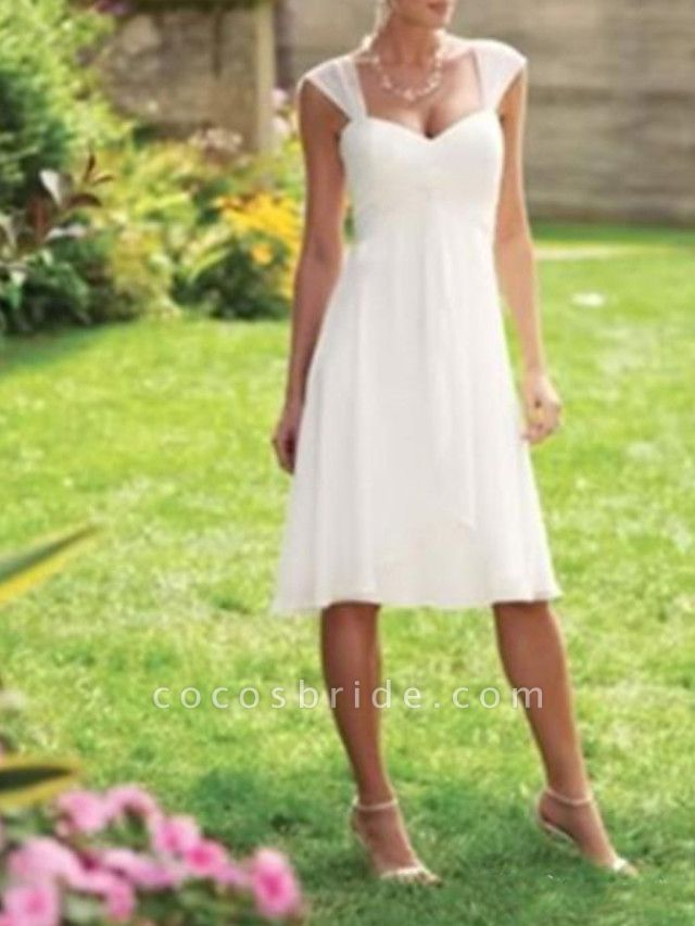 A-Line Wedding Dresses Scoop Neck Knee Length Chiffon Taffeta Sleeveless Country Plus Size