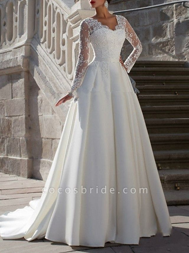 A-Line Wedding Dresses V Neck Sweep \ Brush Train Tulle Long Sleeve Formal Plus Size Illusion Sleeve