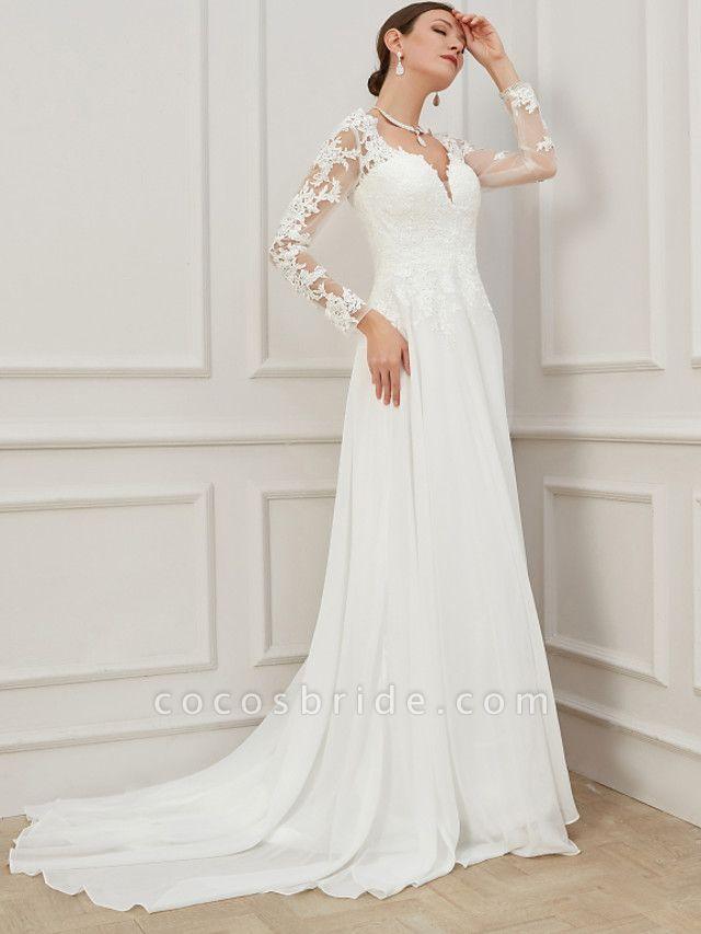 Sheath \ Column Wedding Dresses V Neck Sweep \ Brush Train Lace Tulle Long Sleeve Formal Plus Size Illusion Sleeve