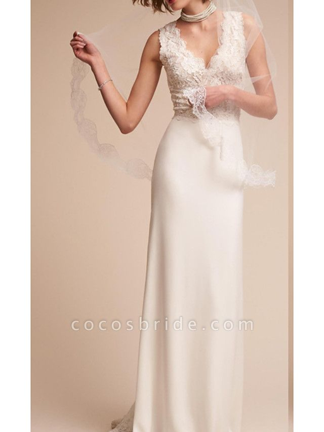 Sheath \ Column V Neck Court Train Lace Regular Straps Country Wedding Dresses