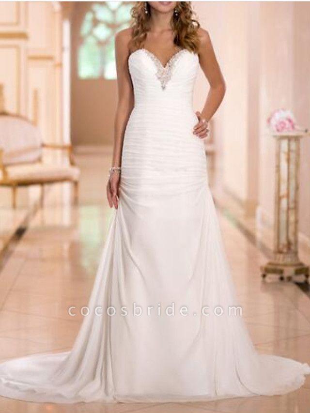 Sheath \ Column Wedding Dresses Strapless Sweep \ Brush Train Tulle Strapless Formal Plus Size