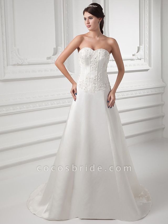 A-Line Sweetheart Neckline Court Train Satin Strapless Wedding Dresses