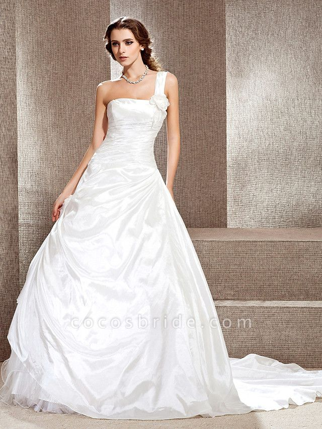 Princess A-Line Wedding Dresses One Shoulder Cathedral Train Taffeta Sleeveless