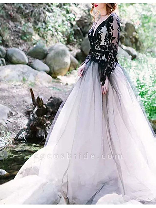 A-Line Wedding Dresses Plunging Neck Sweep \ Brush Train Polyester Long Sleeve Country Plus Size