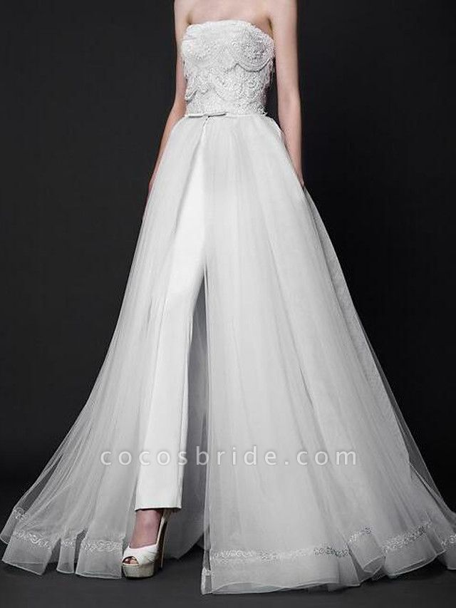 Jumpsuits Wedding Dresses Strapless Floor Length Tulle Polyester Sleeveless Country Plus Size