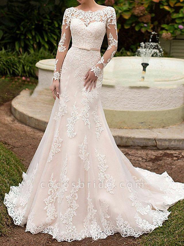 Mermaid \ Trumpet Wedding Dresses Bateau Neck Sweep \ Brush Train Lace Long Sleeve Boho Illusion Sleeve