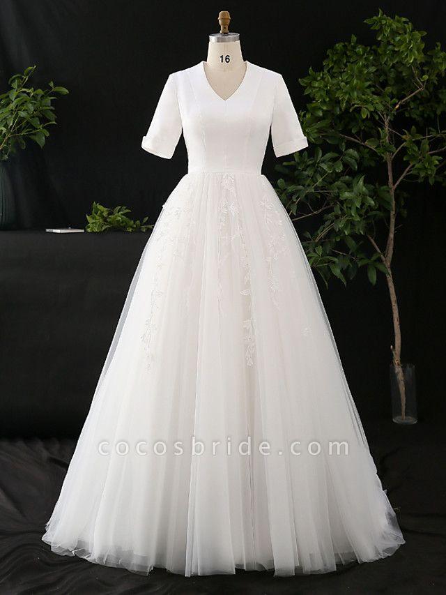 A-Line V Neck Court Train Satin Tulle Half Sleeve Simple Elegant Wedding Dresses