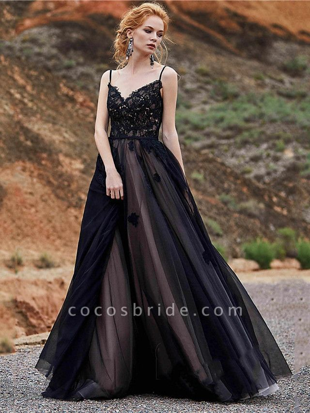 A-Line Wedding Dresses Sweetheart Neckline Floor Length Lace Satin Tulle Spaghetti Strap Black Modern