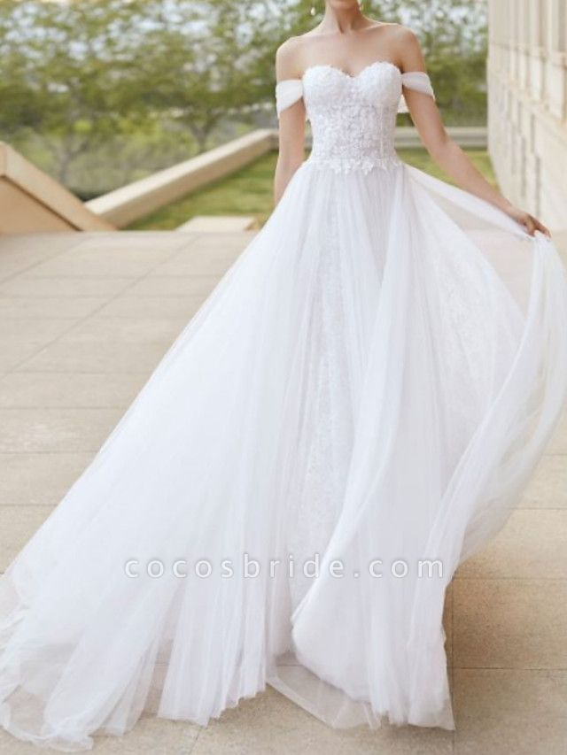 A-Line Wedding Dresses Off Shoulder Court Train Tulle Short Sleeve Formal Plus Size
