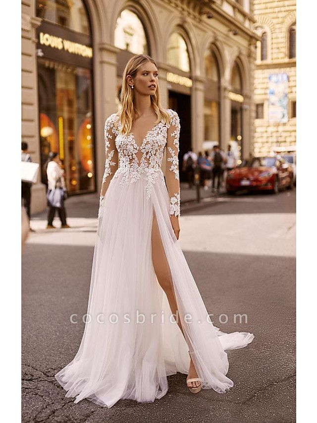 A-Line Wedding Dresses V Neck Court Train Lace Long Sleeve Country Formal Casual Illusion Sleeve