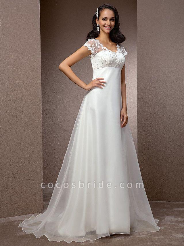 A-Line Wedding Dresses V Neck Court Train Lace Organza Short Sleeve Simple Vintage Little White Dress