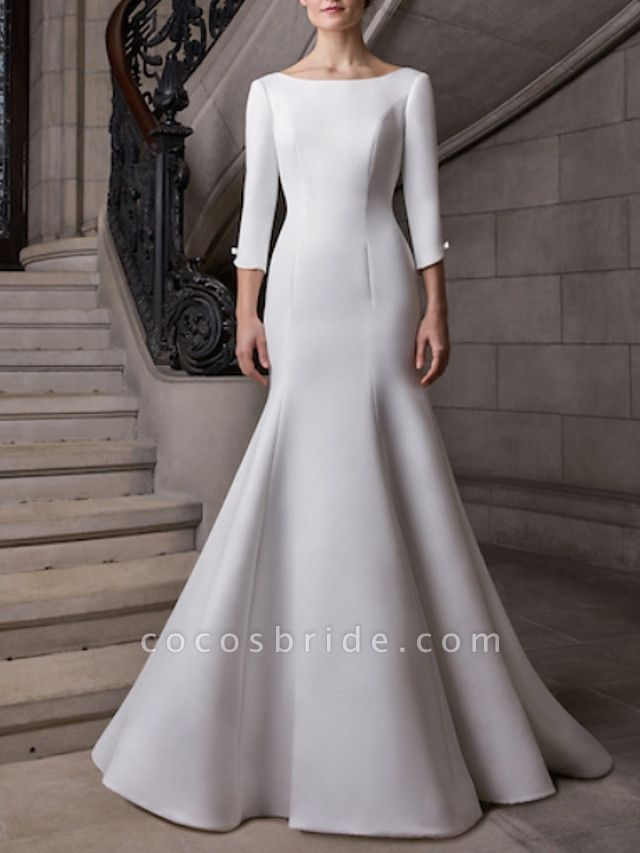 Mermaid \ Trumpet Wedding Dresses Bateau Neck Court Train Satin 3\4 Length Sleeve Plus Size Elegant