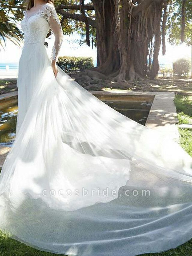 A-Line Wedding Dresses Jewel Neck Court Train Tulle Polyester Long Sleeve Country Plus Size Illusion Sleeve