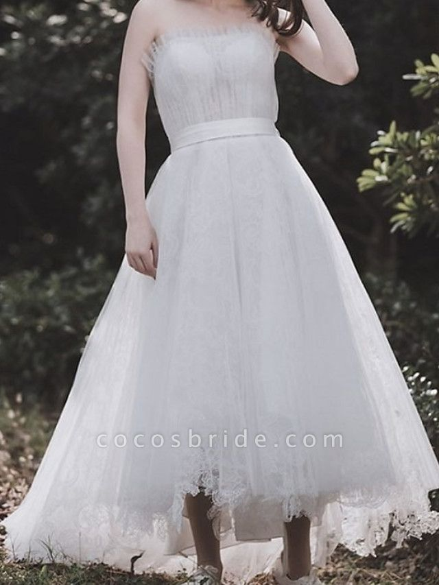 A-Line Wedding Dresses Strapless Asymmetrical Tulle Sleeveless Country