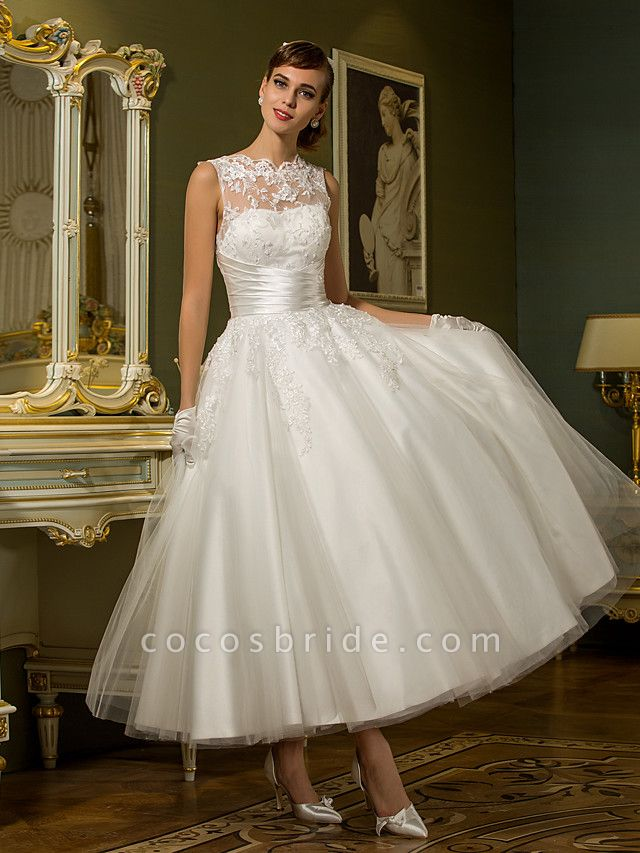 A-Line Wedding Dresses High Neck Ankle Length Lace Over Tulle Regular Straps Vintage Little White Dress Illusion Detail