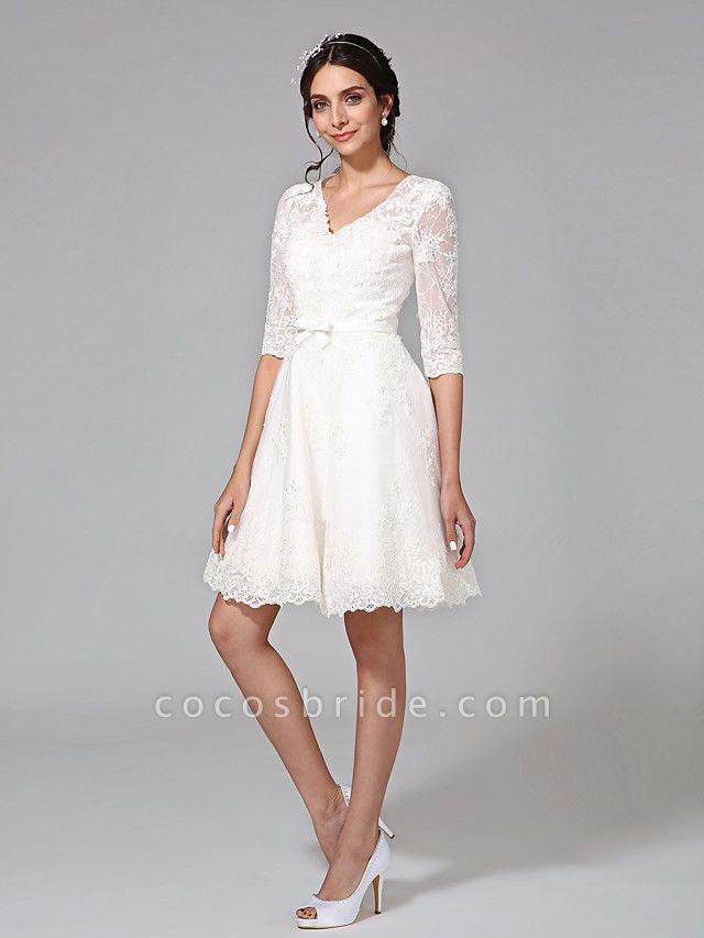 A-Line Wedding Dresses V Neck Knee Length All Over Lace 3\4 Length Sleeve Formal Casual Vintage Cute Illusion Sleeve
